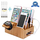 Pezin & Hulin Bamboo Charging Stations for Multiple Devices, Desktop Docking Station Organizer for Apple, Android Phone, iPad (Include Watch Stand and 2 Micro USB and 2 Lightning Cables 8inch)