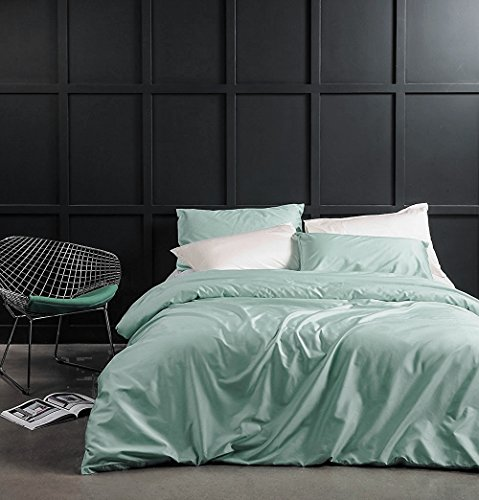 Solid Color Egyptian Cotton Duvet Cover Luxury Bedding Set High Thread Count Long Staple Sateen Weave Silky Soft Breathable Pima Quality Bed Linen (Queen, Mint (Natura Organic Comforter)