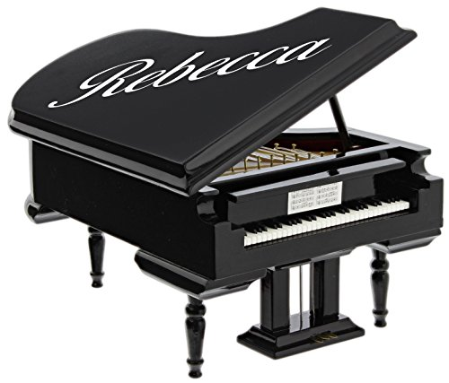 Broadway Gifts Black Baby Grand Piano Music Box with Bench and Black Case Plays Fur Elise (Personalized)