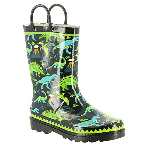 Western Chief Kids Dino Motion Rain Boot Black 10 (Rubber Western Boots)