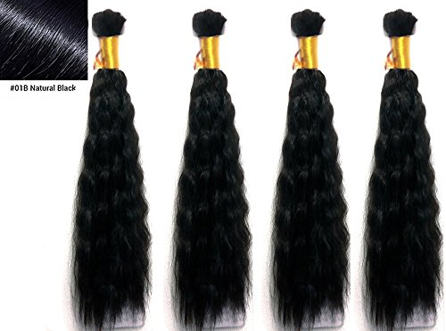 Hot selling Wet N Wavy Bulk hair, Top Quality Synthetic Fibers, Bulk Hair for Micro Braiding or Crochet Braiding, Super Bulk Style 2 Packs (4 Bundles) Deal, Length 18 Inch Color Off Black #1B