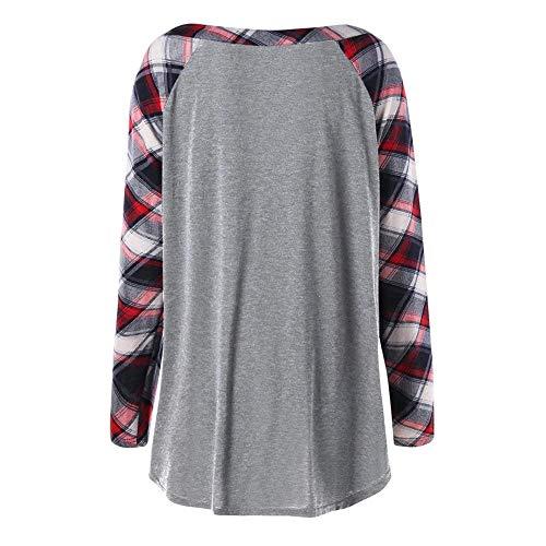 Shirts Printemps Jeune Cou Tunique Carreaux Hellgrau Longues Blouse Automne Tee Tops Haut Mode Fit V Party Shirt Slim Manches Vintage Hipster Femme taqwf5x