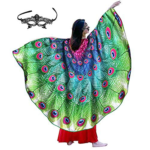 Fairy Adult-Sized Peacock Wings Costume for Women Feathered Shawl-Bird Themed Party Dress Up Dance Cosplay Accessory (Rose-Green)
