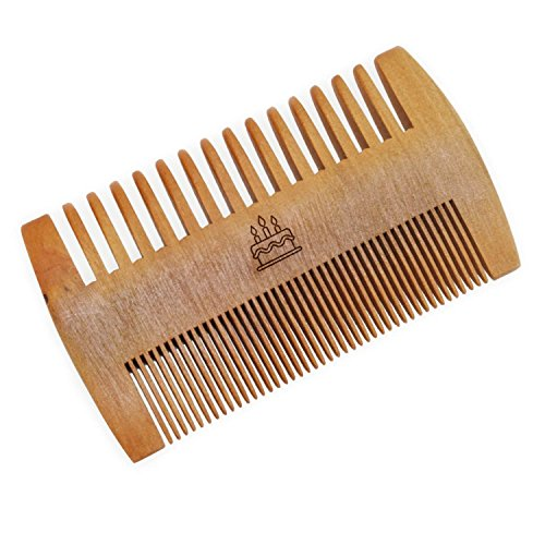 WOODEN ACCESSORIES CO Wooden Beard Combs With Birthday Cake Design - Laser Engraved Beard Comb- Double Sided Mustache Comb -
