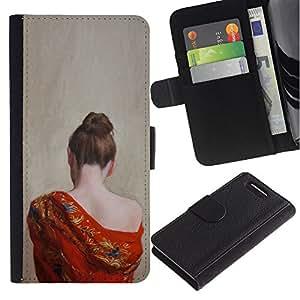 A-type (Pale Skin Woman Naked Shoulder) Colorida Impresión Funda Cuero Monedero Caja Bolsa Cubierta Caja Piel Card Slots Para Sony Xperia Z1 Compact / Z1 Mini (Not Z1) D5503