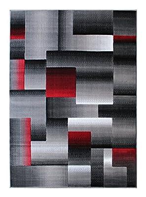 Masada Rugs, Modern Contemporary Area Rug, Red Grey Black