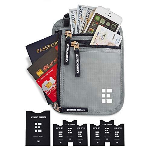 - Zero Grid Neck Wallet w/RFID Blocking- Concealed Travel Pouch & Passport Holder (Ash)