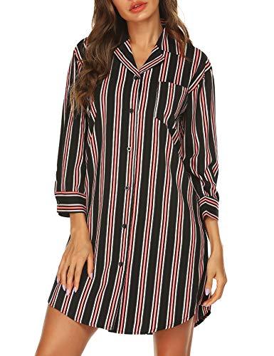 URRU Women 3/4 Sleeve Pajama Top Button Down Striped Sleep Shirt Dress Pure Black M