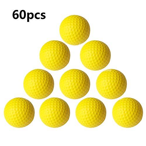 Practice Golf Balls,Smartlife15 Foam Sponge Soft Elastic Golf Balls, Indoor Outdoor Golf Training Aid Balls (Yellow,60pcs)