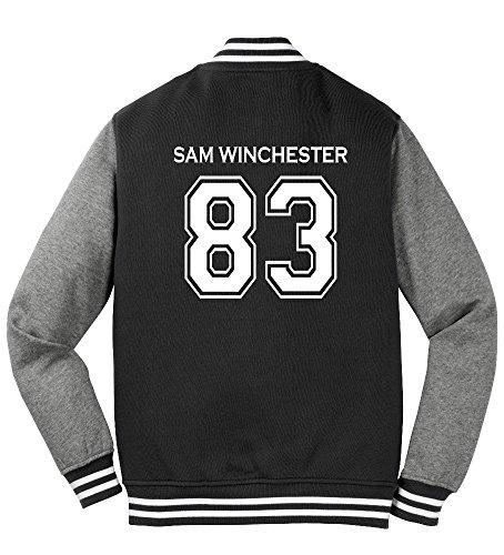 Adult Sam Winchester Sweatshirt Jacket (Large, Black)