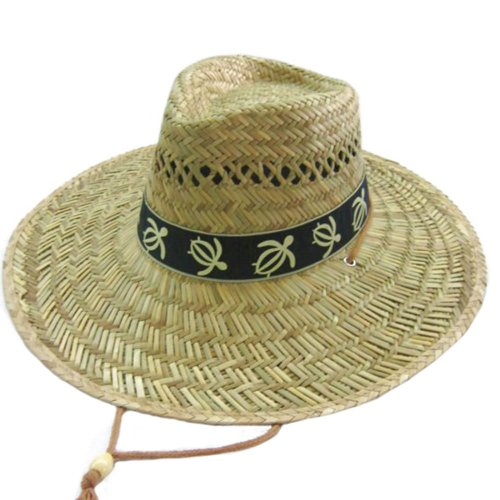 [WP Farmers turtle printed band sun block bigbrim straw hat] (Straw Farmer Hats)