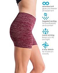 Homma Women's Seamless Compression Heathered Active Yoga Shorts Running Shorts Slim Fit (Medium, H.burgandy)