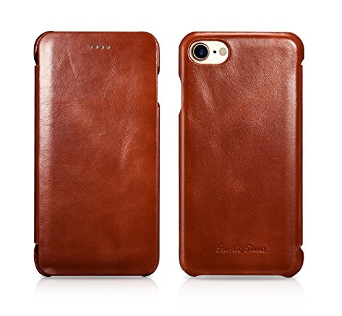 iPhone 8 Leather Case - Genuine Leather iPhone 7 Case - Vintage Folding Flip Case - Shockproof Slim Fit Cover for Apple iPhone 8 (2017) / iPhone 7 (2016) 4.7 Inch