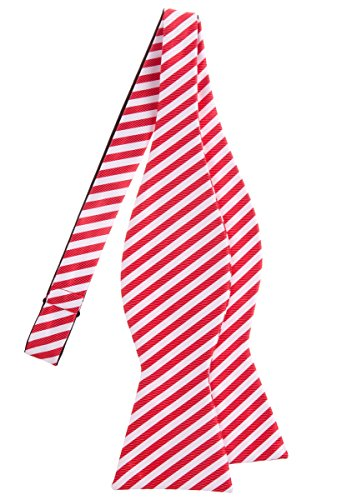 Retreez Striped Woven Microfiber Self Tie Bow Tie - Red and White Stripe