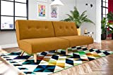 Novogratz Palm Springs Convertible Sofa Sleeper in Rich Linen, Sturdy Wooden Legs and Tufted Design, Mustard Linen