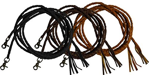 Showman 6.5 ' Long Leather Braided Split Reins with Scissor Snap Ends. Color Chocie (Light Oil)