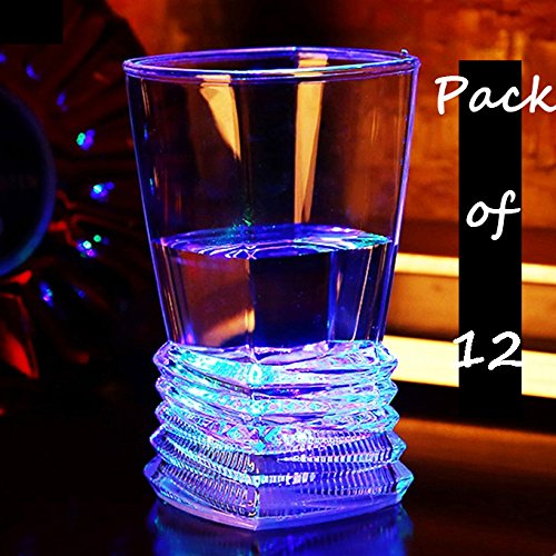 Ollny Pack of 12 Colorful LED Flashing Light Up Glowing ABS Cups Glasses Wineglass Beer Cola Juice for Bar Club Party Festival