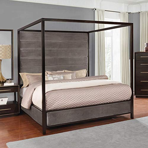 Scott Living 215710KW Ingerson Canopy Bed, California King, Smoked Peppercorn - Hardwood California Bed