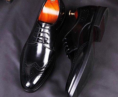 Happyshop (tm) Mens Läder Derbyskor Spets-up Carving Finskor Oxford Boss Black