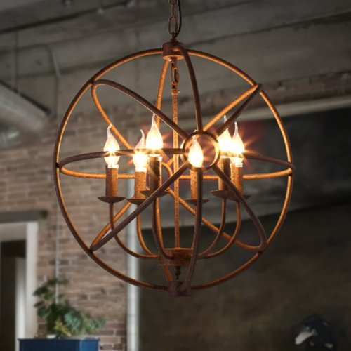 Wrought iron retro candle black chandelier.
