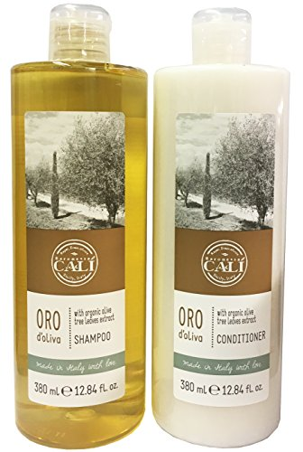 Baronessa Cali Oro D'Oliva Hair Care Set: Shampoo and Conditioner with Organic Olive Tree Leaves Extract - Clean, Shiny, Manageable Hair - 12.84 Ounce - Olive Tree Conditioner