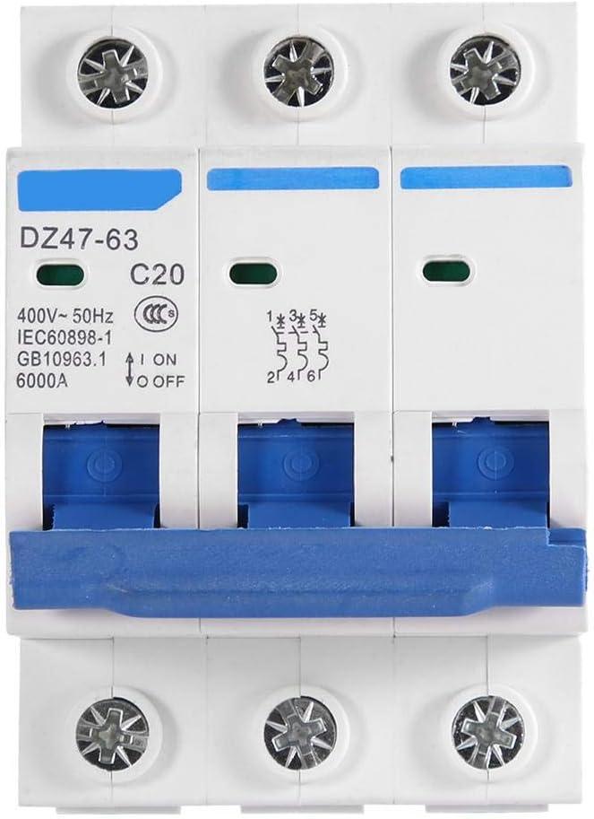 3-poliger 400V Leitungsschutzschalter DZ47-63 AC 6/10/16 / 20A Schutzschalter (20A)