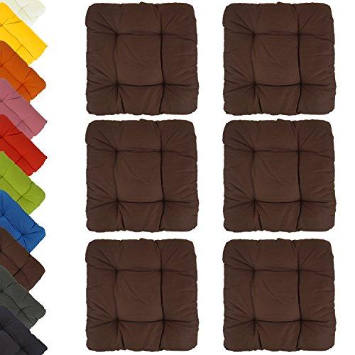 6er Set Sitzkissen Stuhlkissen Dekokissen - Capri - sehr bequem - unifarben - 40x40x8cm - braun