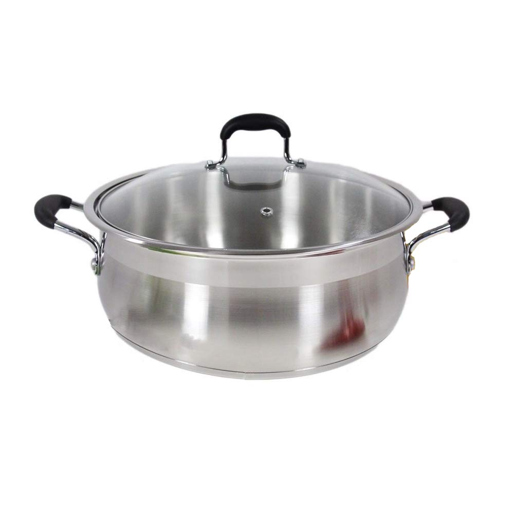 Thaweesuk Shop Low Pot 14 Qt Stainless Steel Super Double Capsulated Bottom Stock Pot Dutch Oven of Set
