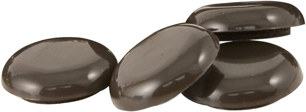 "SuperSliders Self-Stick Furniture Sliders for Carpeted Surfaces (4 piece) - 1"" Walnut Brown - Round SuperSliders"