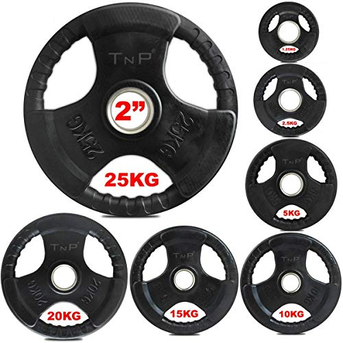 TnP Accessories. Olympic Weight Plates Rubber Coated Cast Iron Weights Plate Set – Tri Grip Radial – 1.25kg 2.5kg 5kg…