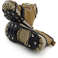 ENJOY OUTDOOR Ice Cleat Crampons and Tread,Cleats for Walking, or Hiking on Snow and Ice,Cleat Over Shoe/Boot Anti Slip 10 Steel Studs Slip-on Stretch Footwear
