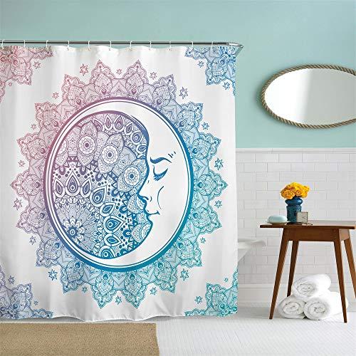 72 x 72 inches Shower Curtain Star Mandala Compass Crescent Moon Face Sleep Bohemian Lotus Teal Turquoise Purple Water Soap Resistant Machine Washable Fabric Bathroom Decor Set with Hooks Bath Curtain