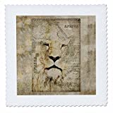 3dRose Andrea Haase Animals Illustration - African Lion Mixed Media Art Vintage Style - 14x14 inch quilt square (qs_268140_5)