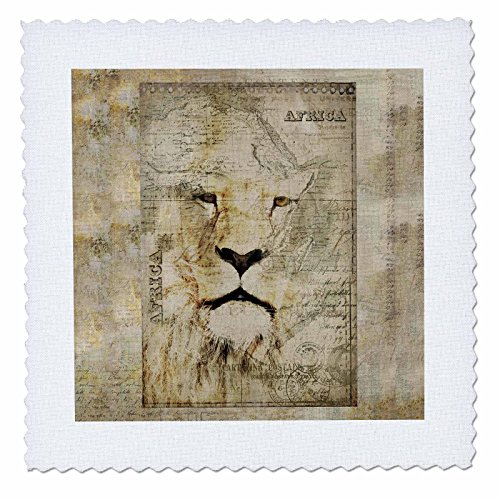 3dRose Andrea Haase Animals Illustration - African Lion Mixed Media Art Vintage Style - 14x14 inch quilt square (qs_268140_5) by 3dRose