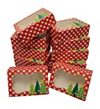 Christmas Cookie gift boxes; rectangular with clear window; colorful paperboard with holiday designs; set of 12 with 12 stickers for sealing (Gingham Trees - NO STICKERS)