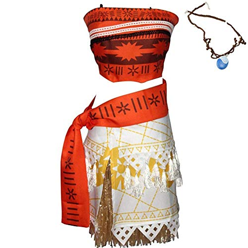 KUFV Moana Costume Halloween Cosplay Costume Skirt Set for Women Girls -