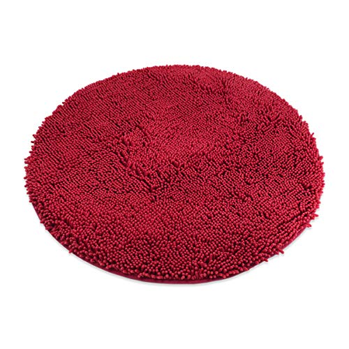 MAYSHINE Round Bath Mat Non-Slip Chenille 3 Feet Shaggy Bathroom Rugs Extra Soft and Absorbent Perfect Plush Carpet for Living Room Bedroom, Machine Wash/Dry-Red