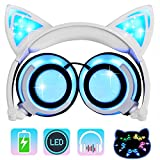 Kids Headphones Cat Ear-Inspired,AMENON Wired On-ear Foldable LED Gaming Headsets USB Rechargeable Lights 85dB Volume Limited Earphone for IOS Android Phone Laptop Adults Parents Gift (01white)