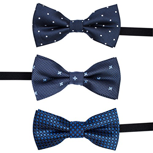 LALUNA BRIDE Baby Boys Pre-tied Adjustable Neck Strap Tie Boys Bow Tie Value Set,Multi - colors Set of 3 by LALUNA BRIDE