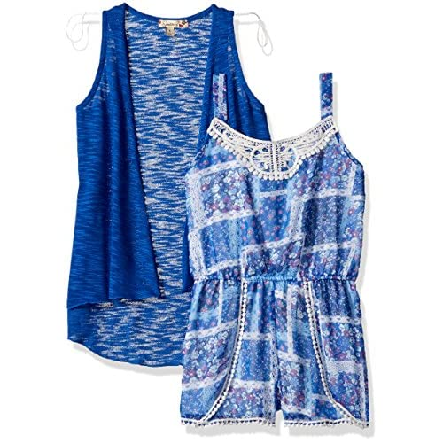 7d1ffe081cc Speechless Big Girls  2 Piece Printed Chiffon Romper with Cozy Vest ...