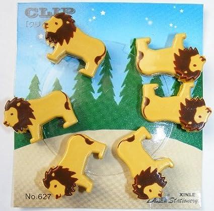 Kawaii 6 piezas Animal Shape pequeños clips - León