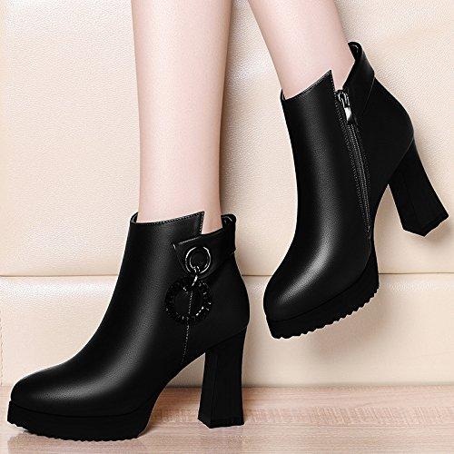 Botas Botas Los Salvajes Mujer Nueva Femenina Botas Zapatos Impermeable De Invierno De Martin 39 Taiwán De Lateral Negr Otoño 9Cm Cremallera Zapatos Mujer De Heeled Plus AJUNR Moda High Taiwán Terciopelo P7xqwwR1