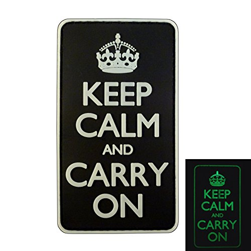 (LEGEEON Keep Calm Carry On WW2 WWII Morale PVC 3D Hook&Loop Patch)
