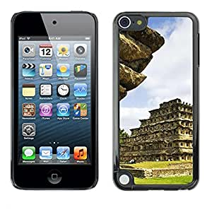 Slim Protector Shell Hard Case Cover for Apple iPod Touch 5 Architecture Inca Maya Aztec Temple / STRONG