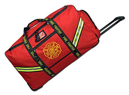 Firefighter Premium Rolling Bunker Turnout Gear Bag with Wheels and Retractable Handle