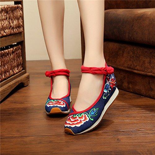 Women cloth 5cm shoes Blue thick bottom embroidered elegant rOwPUq5rnx