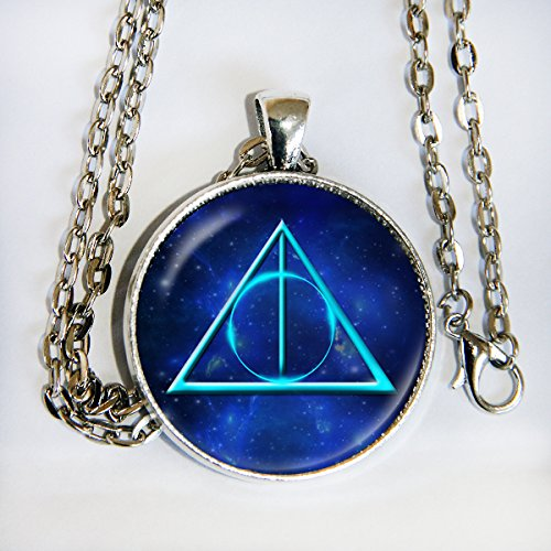 Harry Potter Deathly Hallows glass dome cabochon necklace - HM (Slytherin Symbol)