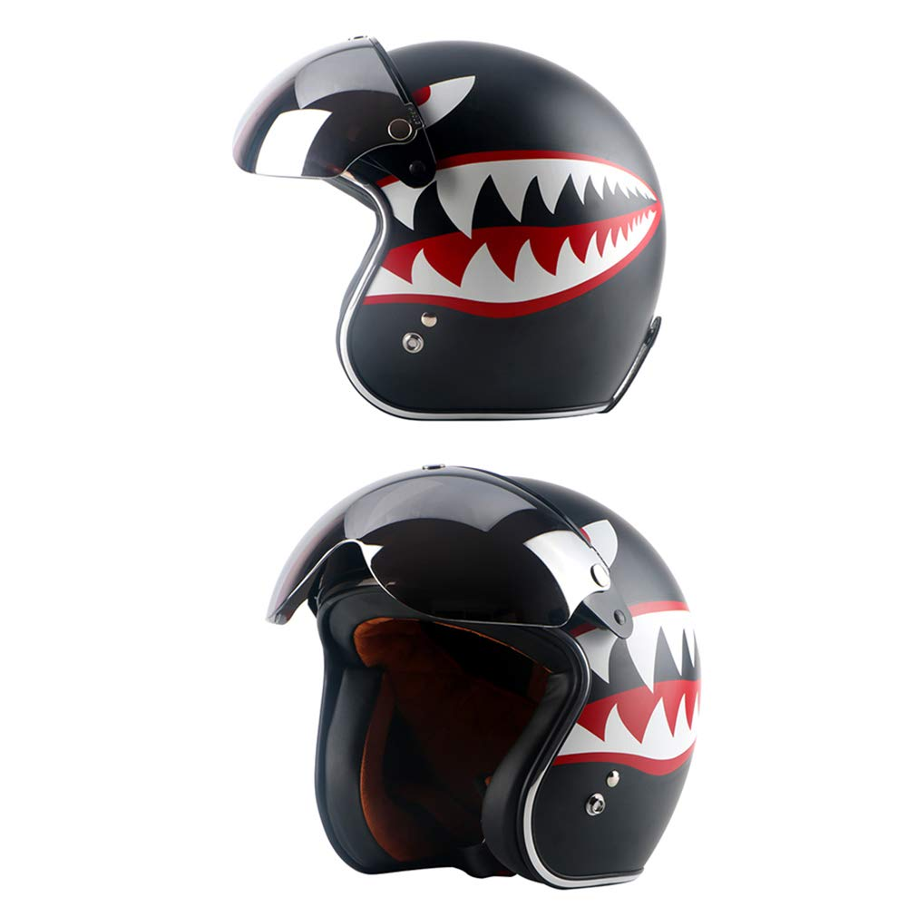 Wancar Universal Motorcycle Retro Pilot-Style Standard 3 Snap-Button Visor Flip Up Down Open Face Helmet Wind Shield Clear