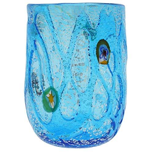 GlassOfVenice Aqua Swirls Murano Glass Tumbler