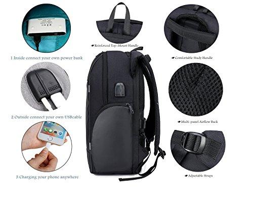 Netchain Zaino per Computer Portatile con Porta di Ricarica USB Backpack Laptop Zaino Antifurto da 15.6 Pollici Zaino… 4 spesavip